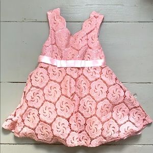 Pink Lace Floral Dress toddler girl